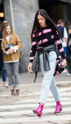 No. 22 - Gilda Ambrosio  Between the sparkly Saint Laurent boots and the matching Moschino shirt and clutch, Barbie would either be incredibly envious or proud.    Photo:  Youngjun Koo/I'M KOO
