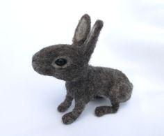 Needle felted wild rabbit by MischiefsManifold on Etsy