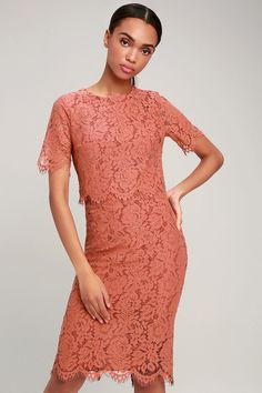 Lulus Exclusive! Love is in the air, and the Lulus Devotion Rusty Rose Lace Short Sleeve Midi Dress is ready for date night! Sheer cap sleeves and a rounded neckline top this lovely dress made from sheer, eyelash lace over a matching lining. A darted, flounce bodice and banded waist sit above a modest midi skirt. Hidden back zipper. Rose Lace, Lovely Dresses, Camden, Lace Shorts, Dress Making, Cap Sleeves, Engagement Session, Midi Skirt, Bodice