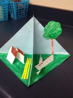 Pyramid for California History, includes a side for each: missions, pueblos, presidios and ranchos.