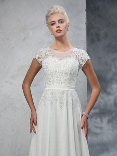 da09a29d0af A-Line Princess Sheer Neck Applique Short Sleeves Long Chiffon Wedding  Dresses - Plus