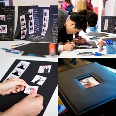Photobooth Scrap/guestbook - each guest in the photo gets a copy and 1 extra for the scrap/guestbook. BEST idea...