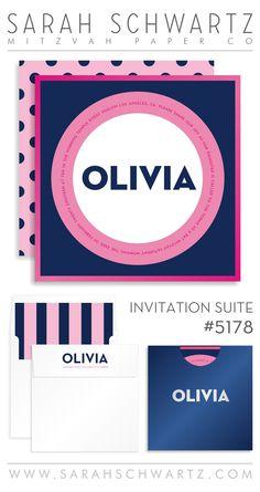 modern, sassy + fun! pink and navy polka dot bat mitzvah invitation suite from sarahschwartz.com/blog | bat mitzvah invitation suite 5178