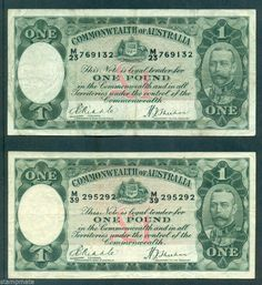 AUSTRALIA  TWO OLD  £1  BANKNOTE  R28 RIDDLE SHEEHAN IN FINE CONDITION