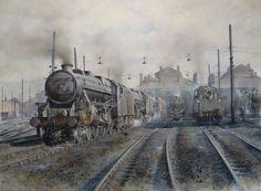 Black 5 Railway Steam Train Print (Willesden) - Painting by Artist James Green Steam Art, Old Steam Train, Steam Railway, Train Art, Train Engines, Railway Posters, Old Trains, British Rail, Uk Rail