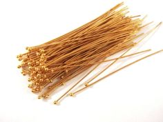 100 Gold Ball Headpins NF Plated Brass 2.25 inch 57mm 20-21