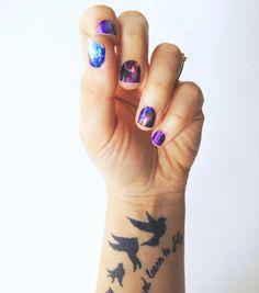 Galaxy and glitter vinyl nail wraps
