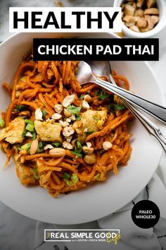 This Paleo + Whole30 Healthy Sweet Potato Chicken Pad Thai Recipe has sweet potato noodles, creamy cashew butter and coconut aminos. It's the best healthy takeout remake recipe that's easy to make and perfect for the whole family including kids. Even though it's Whole30 everyone will love it! Easy Paleo Dinner Recipes, Thai Recipes, Indian Food Recipes, Healthy Recipes, Paleo Food, Healthy Options, Whole30 Sweet Potato, Sweet Potato Noodles, Chicken And Biscuits