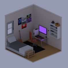 First isometric room that i've made. Gamer Bedroom, Bedroom Setup, Bedroom Layouts, Room Decor Bedroom, Small Game Rooms, Gaming Room Setup, Game Room Design, Girl Bedroom Designs, Room Planning