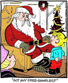 """Hank Ketcham's classic """"Dennis the Menace"""" chronicles the pranks of the mischievous title character. Christmas Comics, Christmas Cartoons, Funny Christmas, Christmas Time, Vintage Christmas, Xmas, Funny Cartoon Pictures, Cartoon Quotes, Funny Quotes"""