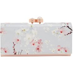 Ted Baker Chiara Oriental Blossom Leather Matinee Purse, Light Grey ($115) ❤ liked on Polyvore featuring bags, handbags, man bag, kiss-lock handbags, leather flower purse, kiss lock coin purse and leather handbags