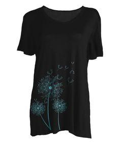 Black & Turquoise Dandelion Tee - Plus Too