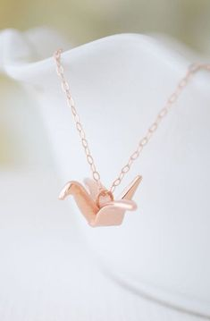 Rose Gold Origami Crane Necklace rose gold