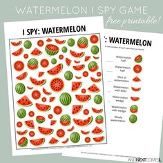 Free watermelon themed I Spy game for kids