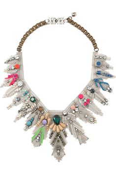 Feather crystal and bead bib necklace