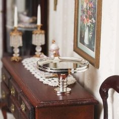 Dollhouse Miniature Pedestal Serving Platter