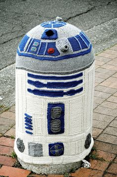 Yarn bombing R2D2 in Bellingham, Washington, USA