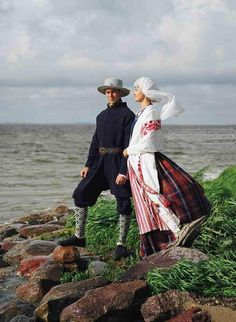 Europe | Portrait of a couple wearing traditional clothes, Vilnius Region, Lithuania