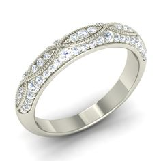 Certified Real Diamond Eternity Wedding Anniversary Band Ring in Sterling Silver - Diamonds & Gemstones