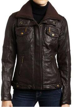 Women Brown double collar Leather Jacket women by Myleatherjackets, $159.99