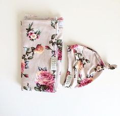 Baby Swaddle Blanket Floral Swaddle and Beanie by weelittlenuggs