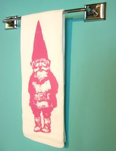 Gnome Kitchen Towel Pink Vintage Inspired Graphic Screen Print Hand Towel Indie Housewares. Found using Etsy.