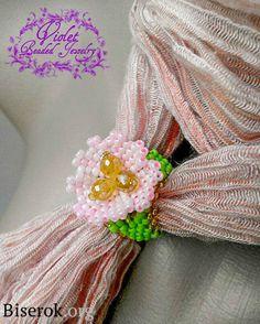 ring of beads Scarf Jewelry, Bead Jewellery, Beaded Jewelry, Beaded Flowers, Fabric Flowers, Pink Flowers, Beaded Earrings Native, Beaded Rings, Beading Tutorials