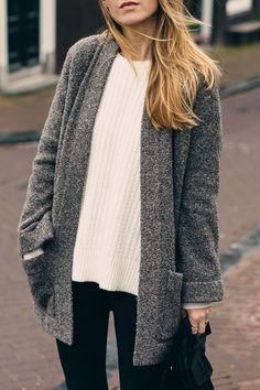 Jess Ann Kirby styling an Ann Taylor cable knit sweater and marled cardigan for holiday