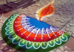 80 Best and Easy Rangoli Designs for Diwali Festival - 16 diwali rangoli design by aakruti Indian Rangoli Designs, Rangoli Designs Latest, Rangoli Designs Flower, Colorful Rangoli Designs, Rangoli Designs Images, Flower Rangoli, Beautiful Rangoli Designs, Latest Rangoli, Mehndi Images