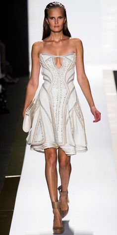 HERVE LEGER BY MAX AZRIA: Alabaster texture-beaded bandage flared dress, alabaster cotton eyelet skirt, alabaster leather geometric clutch and nude leather ankle-strap pump