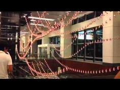 <3 Kinetic Rain art piece at the Changi Airport Terminal 1, Singapore