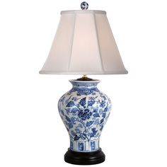 Chinese Blue and White Porcelain Vase Floral Motif Table Lamp White Porcelain, White Ceramic Lamps, Lamp, Jar Table Lamp, Lamps Plus, Porcelain Decor, Decorative Table Lamps, Painting Lamps, White Table Lamp