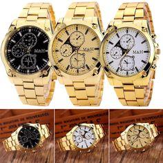 Fashion Men's Luxury Military Stainless Steel Band Analog Quartz Wrist Watch
