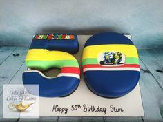 Valentino Rossi (The Doctor) Birthday Cake. Buttercream Filling, Chocolate Buttercream, Themed Birthday Cakes, 50th Birthday, Edible Printing, Vanilla Sponge, Chocolate Sponge, Vr46, Valentino Rossi