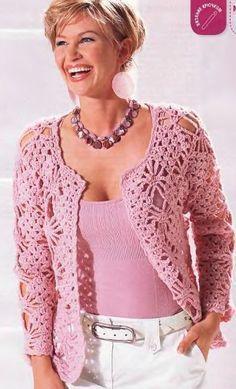 fashion for women: pink lace cardigan, free crochet patterns Crochet Jacket Pattern, Gilet Crochet, Black Crochet Dress, Crochet Coat, Crochet Cardigan Pattern, Lace Cardigan, Crochet Blouse, Crochet Shawl, Crochet Clothes