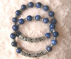 Men's Blue Lapis Lazuli Bracelet with Tibetan Silver Spacers and Bar.