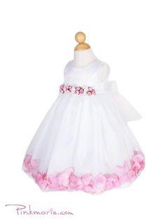 Pink Flower Satin Bodice Skirt Baby Flower Girl Dress