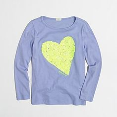 Factory girls' long-sleeve glitter heart keepsake tee