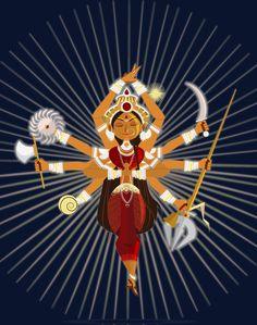 maa durga on Behance Steampunk Illustration, Indian Illustration, Durga Maa, Durga Goddess, Indiana, Durga Painting, Indian Art Gallery, Navratri Images, Lord Ganesha Paintings