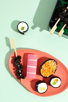"""Theresa's 'Dessert Bento Box' requires no cooking at all – just a few carefully selected store-bought lollies, cleverly combined to create the sweetest sushi you'll ever try!  We're pretty thrilled with the accompanying photographs too – epic work by Sydney photographer Phu Tang and food stylist Gemma Lush!"" – Lucy/thedesignfiles.net"