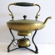 Aladdin Style Teapot Kettle Brass Warmer Stand Aged Patina Tested No Leaks 4 cup #unbranded