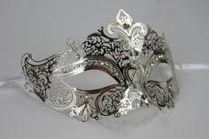 Silver Masquerade Mask / Laser Cut with rhinestones Venetian Masquerade Mask Phantom of the Opera Inspired Unisex Mardi Gras Wedding