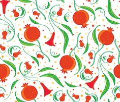 Pomegranate Blooms & Fruit - © Lucinda Wei fabric by simboko on Spoonflower - custom fabric