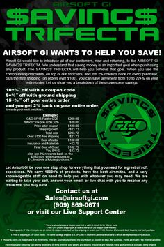 The best place and the best way to save money on all your airsoft needs.