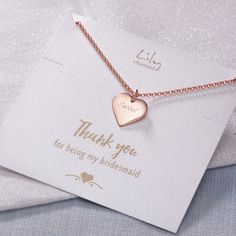 Rose Gold Heart Necklace, Heart Jewelry, Heart Of Gold, Jewelry Necklaces, Be My Bridesmaid, Bridesmaid Dresses, Prom Dresses, Kids Necklace, Engraved Necklace