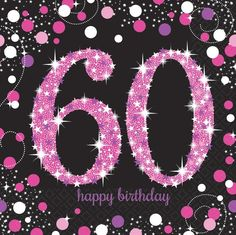 60Th Pink Sparkling Celebration 33Cm Paper Party Napkins