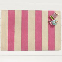 Wide Striped Rug - Pink