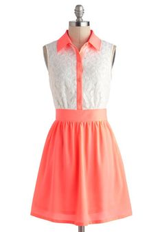 Neon a Roll Dress - Short, Coral, White, Buttons, Lace, Casual, A-line, Sleeveless, Collared, Neon, Button Down, Spring, Summer