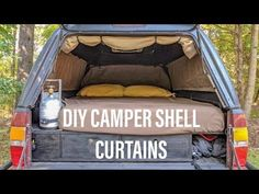 Wanting to improve your truck camping experience with some curtains? This detailed guide on making DIY camper shell curtains for your truck camper is full of diagrams, images, tips, and recommendations. Truck Canopy Camping, Truck Topper Camping, Truck Toppers, Minivan Camping, Camping Hammock, Kayak Camping, Truck Cap Camper, Truck Caps, Pickup Camper