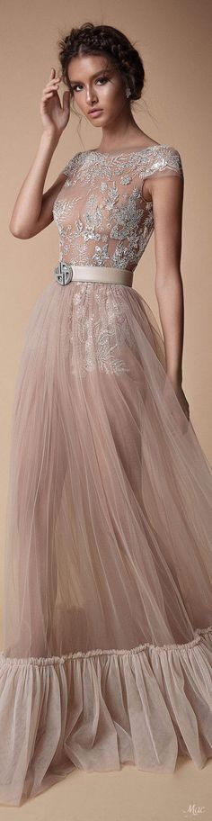 Fall 2018 Berta haute couture long beige, white lace night dress, long elegant skirt slightly transparent with beige celtic belt with a fantastic style fashion editorial photography brunette europien woman